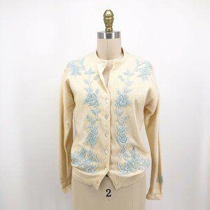 Vintage 1950's Sweater Rose Pastel Beaded Cardigan